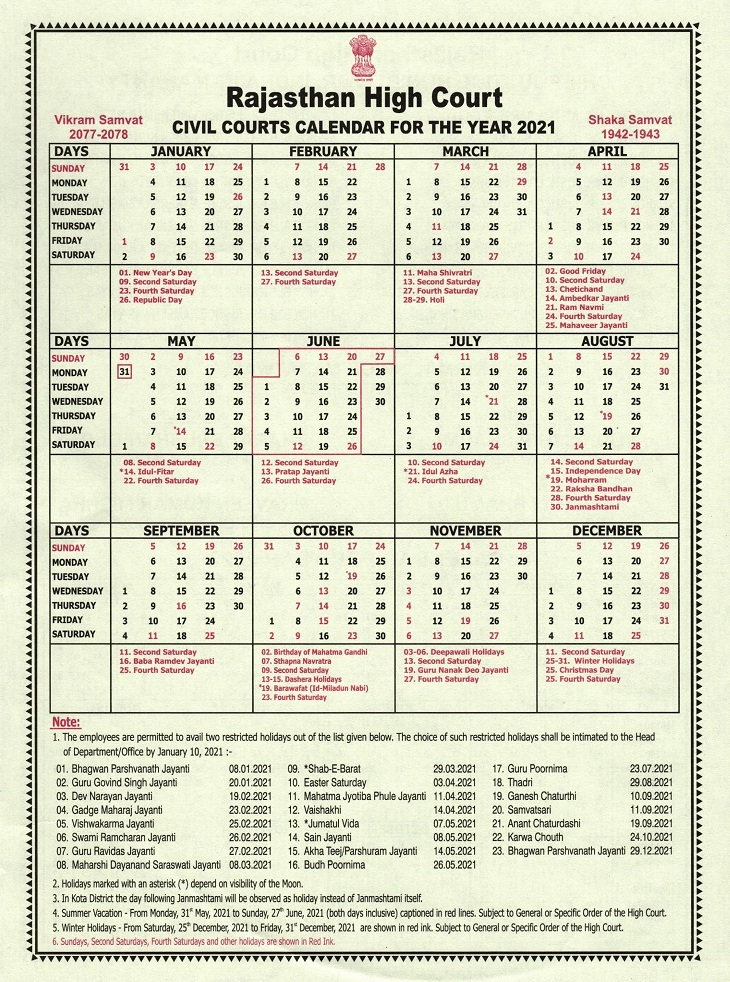 Supreme Court Calendar 2022.Rajasthan High Court Civil Courts Calendar 2021 District Court In India Official Website Of District Court Of India